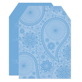 Blue paisley pattern card