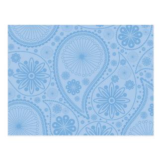 Blue paisley pattern postcard