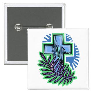 Blue Palm Cross 15 Cm Square Badge