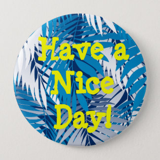 Blue palm leaves 10 cm round badge