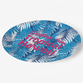 Blue palm leaves paper plate