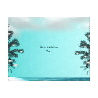 Blue Palm Tree Guest Book Alternative Canvas Print