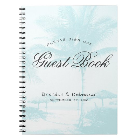 Blue Palm Trees Wedding Guest Book