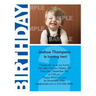 Blue Panel 2nd birthday Invitation Postcard