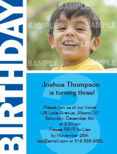 Blue Panel 3rd Birthday Invitation