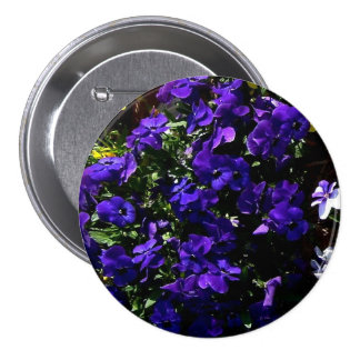 Blue Pansies Corsage - Allergy-Free Pinback Buttons