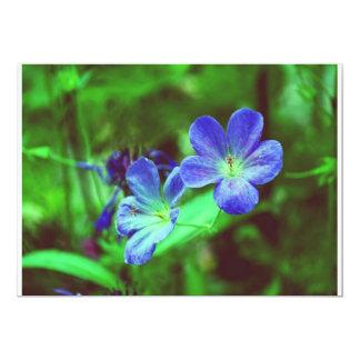 "Blue Pansies 5"" X 7"" Invitation Card"