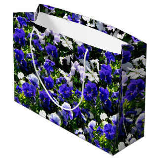 Blue Pansies Large Gift Bag
