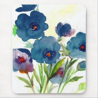 Blue pansies mouse pad
