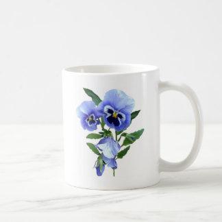 blue pansies coffee mug
