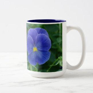 Blue Pansies Two-Tone Coffee Mug