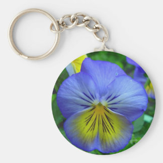Blue Pansy Basic Round Button Key Ring