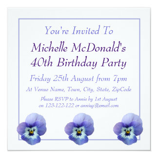 "Blue Pansy Birthday Invitation 5.25"" Square Invitation Card"