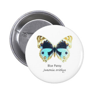 Blue Pansy Butterfly with Name Pinback Button