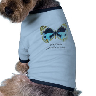Blue Pansy Butterfly with Name Pet T-shirt