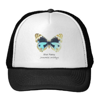Blue Pansy Butterfly with Name Mesh Hat