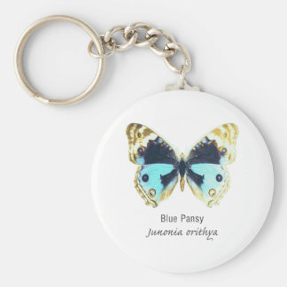 Blue Pansy Butterfly with Name Keychains