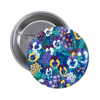 Blue Pansy Design Pinback Buttons