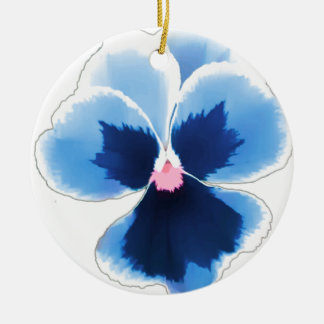 Blue Pansy Flower 201711c Ceramic Ornament