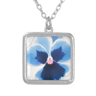 Blue Pansy Flower 201711c Silver Plated Necklace