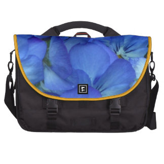 Blue Pansy Flower Laptop Messenger Bag