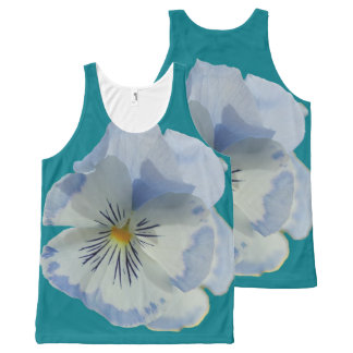 Blue Pansy Flower Top All-Over Print Tank Top