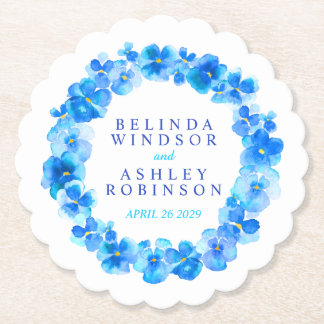Blue pansy flower wreath watercolor art coasters