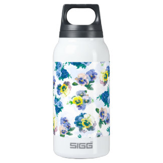 Blue Pansy Flowers floral pattern 0.3L Insulated SIGG Thermos Water Bottle