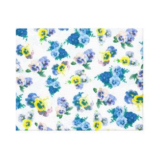 Blue Pansy Flowers floral pattern Canvas Prints