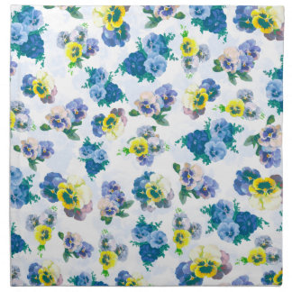 Blue Pansy Flowers floral pattern Cloth Napkin