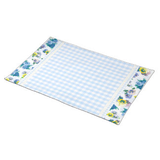 Blue Pansy Flowers floral pattern Placemats