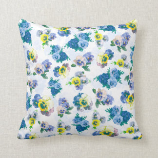 Blue Pansy Flowers floral pattern Cushion