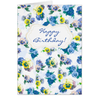 Blue Pansy Flowers floral pattern Happy Birthday Greeting Card
