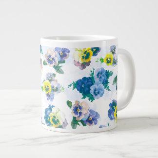 Blue Pansy Flowers floral pattern Jumbo Mug