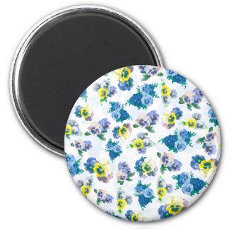 Blue Pansy Flowers floral pattern Fridge Magnet
