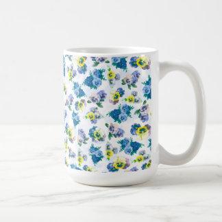 Blue Pansy Flowers floral pattern Mug