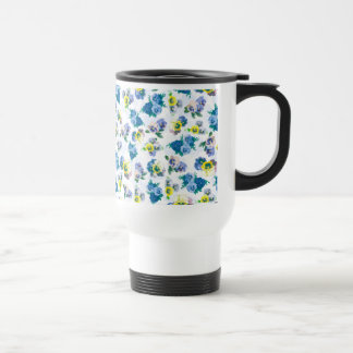 Blue Pansy Flowers floral pattern Coffee Mugs