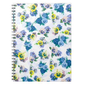 Blue Pansy Flowers floral pattern Notebook