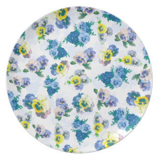 Blue Pansy Flowers floral pattern Party Plate