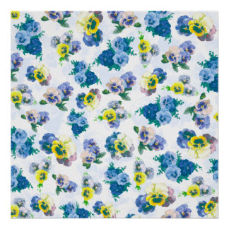 Blue Pansy Flowers floral pattern Poster