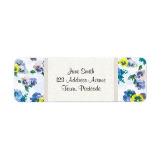 Blue Pansy Flowers floral pattern Return Address Label