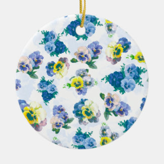 Blue Pansy Flowers floral pattern Round Ceramic Decoration