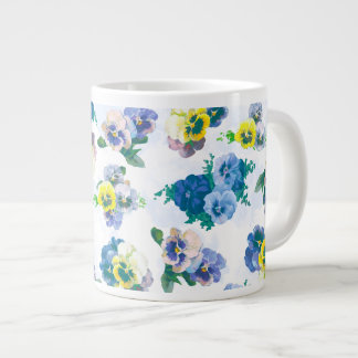 Blue Pansy Flowers floral pattern Extra Large Mug