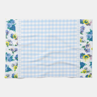 Blue Pansy Flowers floral pattern Towels