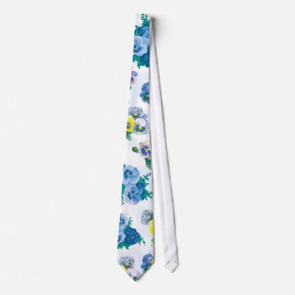 Blue Pansy Flowers floral pattern Tie