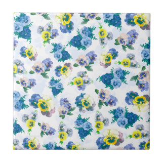 Blue Pansy Flowers floral pattern Small Square Tile