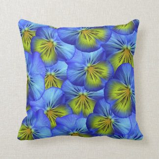 Blue Pansy Flowers Throw Pillow