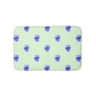 Blue Pansy on Mint - bath mat Bath Mats