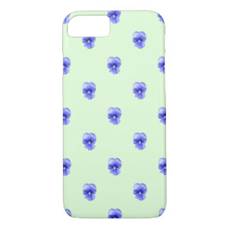 Blue Pansy on Mint - Phone Case