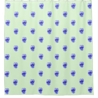 Blue Pansy on Mint - shower curtain